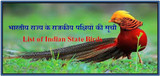 List of Indian State Birds