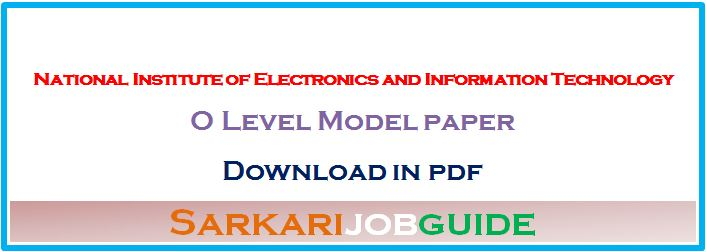 O Level Model Paper in Hindi PDF
