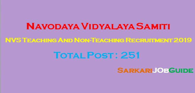 NVS Teaching And Non-Teaching Recruitment 2019