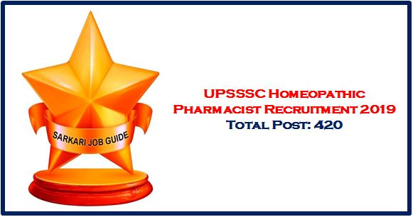 UPSSSC Homeopathic Pharmacist Recruitment 2019