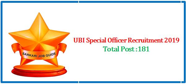UBISpecial Officer Recruitment2019